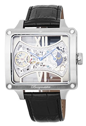 Burgmeister Men's Mechanical Hand Wind Stainless Steel and Leather Casual Watch, Color:Black (Model: BM234-102)