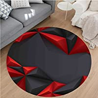 Nalahome Modern Flannel Microfiber Non-Slip Machine Washable Round Area Rug-Pyramids Inspired Like Triangles with Shadows Graphic Artwork Charcoal Grey and Burgundy area rugs Home Decor-Round 36