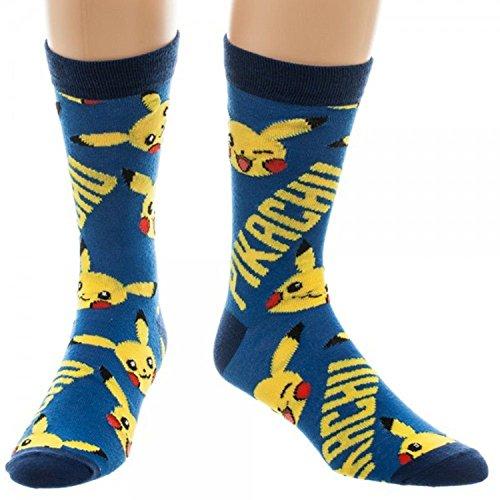 Pokemon-Pikachu-All-Over-Print-Mens-Crew-Socks-Blue-10-13