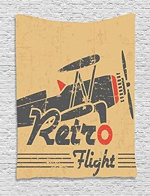 ABAKUHAUS Avion Vintage Tapiz de Pared, Emblema Retro, para el ...