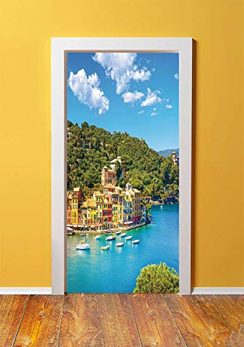 Italy 3D Door Sticker Wall Decals Mural Wallpaper,Portofino Landmark Aerial Panoramic View Village and Yacht Little Bay Harbor Decorative,DIY Art Home Decor Poster Decoration 30.3x78.9192,Blue Green Y