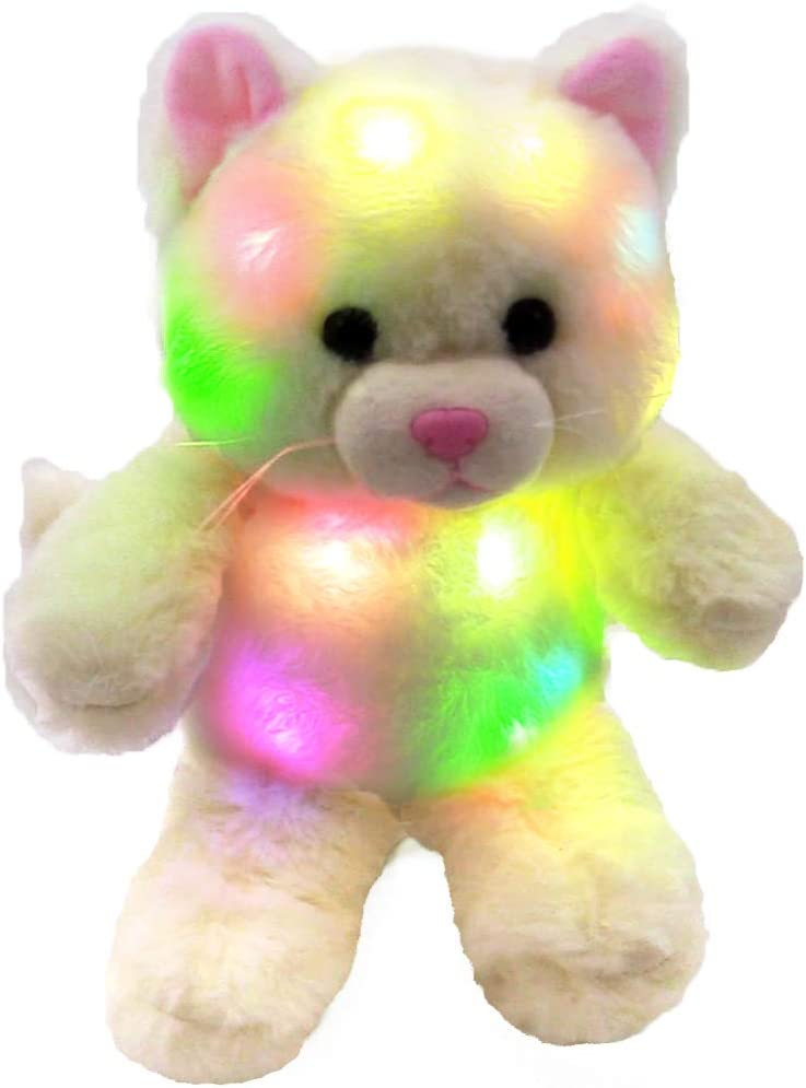 The Noodley Small Stuffed Animal Cat Light-Up Toy for Sleep Plushies Night Light for Kids, Toddlers, White 8 inch, Batteries Not Included