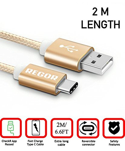 Regor 6.6FT / 2Meter Type C Nylon Braided Cable - Gold
