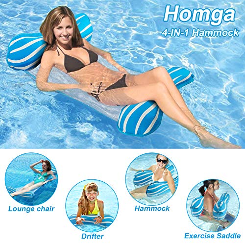 Homga Water Hammock,Swimming Pool Floats Hammocks Portable Pools Lounger Float Hammock Inflatable Rafts Floating Chair Pool Float for Adults and Kids