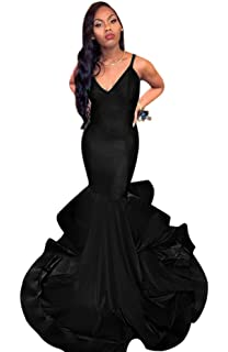 XJLY Straps V Neck Mermaid Prom Dress Long Evening Gowns