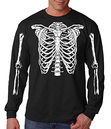 Halloween Skeleton Rib Cage Easy Costume T-Shirt Long Sleeve (3X-Large)