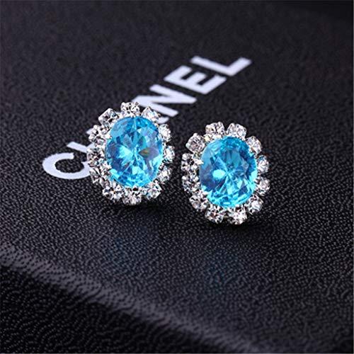 Creative Stylish Oval Diamond Earrings Multicolor Flash Diamond Zircon Earrings,Blue
