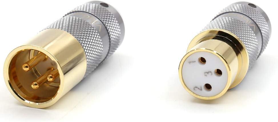 4PCS HiFi Audio Cable Balance 3Pins Viborg 99.998/% Pure Copper XLR Connector Plug 2 Female 2 Male Rhodium Plated