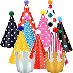 Maxdot 22 Pieces Party DIY Cone Hats Polka Dots Birthday Paper Cone Hats and Crown Hats with Lovely Pom Poms for Party Supply