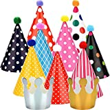 kids party cone hats - Maxdot 22 Pieces Party DIY Cone Hats Polka Dots Birthday Paper Cone Hats and Crown Hats with Lovely Pom Poms for Party Supply