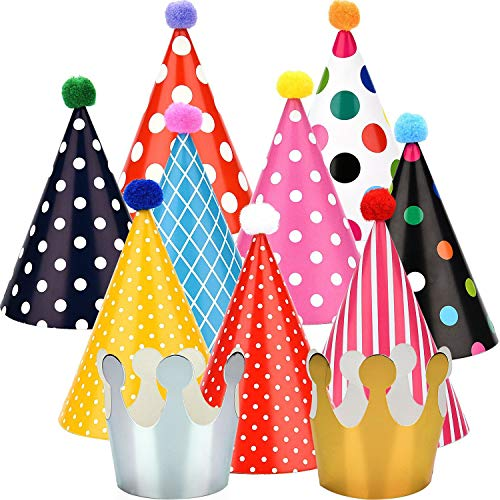 Maxdot 22 Pieces Party DIY Cone Hats Polka Dots Birthday Paper Cone Hats and Crown Hats with Lovely Pom Poms for Party -