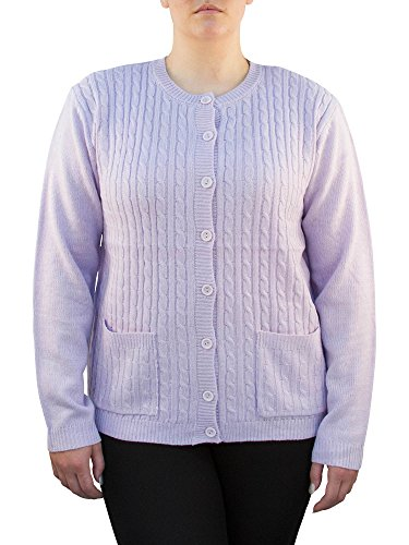 Knit Minded Long Sleeve Two Pocket Cable Knit Cardigan Sweater Lilac L
