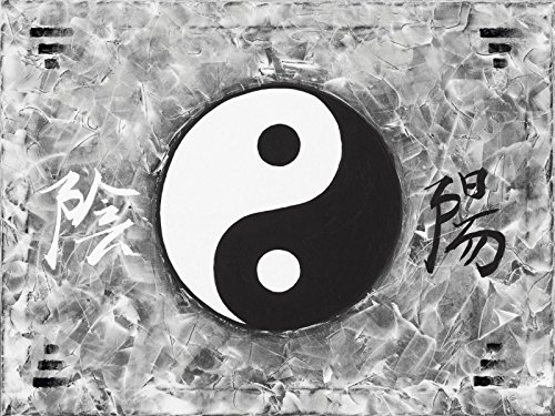 Artland Qualitätsbilder I Bild auf Leinwand Leinwandbilder A. S. Ying & Yang_sw Statement Bilder Zeichen Malerei Schwarz/Weiß A9BA