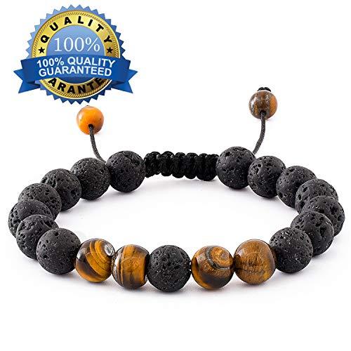 Romavida Anxiety Lava Stone Diffuser Bracelet, Yoga Bead Bracelet Natural Crystal Bracelet, Healing Aromatherapy Tiger Eye Beads Essential Oil Stretch 8mm Beaded Bracelets for Women and Men ()