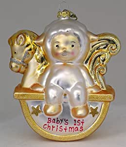 North Star Glass Christmas Ornament Baby's First Christmas Lamb on Rocking Horse