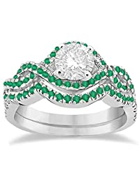Emerald Infinity Halo Engagement Ring and Band Set Palladium (0.60ct) (No center stone included)