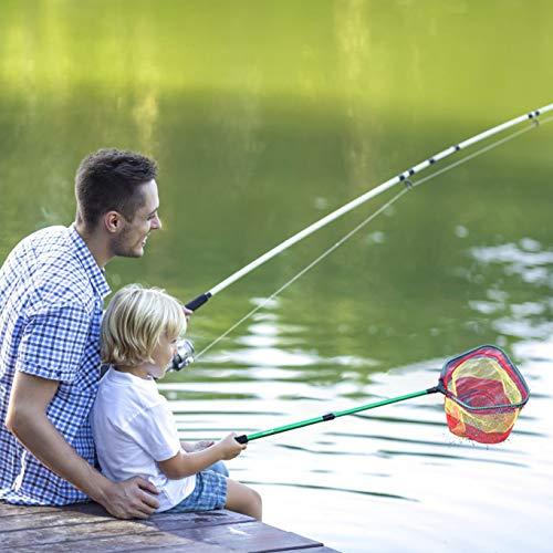 FunVZU Kids Fishing Net - Ultralight Telescopic Aluminum Pole Handle with Waterproof Nylon Mesh, Minnow Net and Butterfly Net for Kids Outdoor