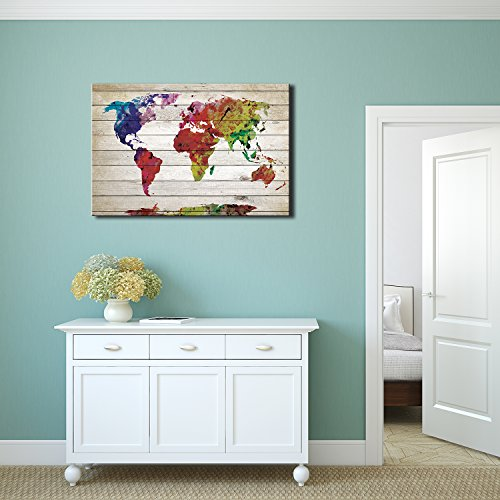 Watercolor Fine Art World Map Rustic Wood Panel Painting