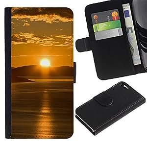 Billetera de Cuero Caso Titular de la tarjeta Carcasa Funda para Apple Iphone 5 / 5S / Sunset Beautiful Nature 65 / STRONG