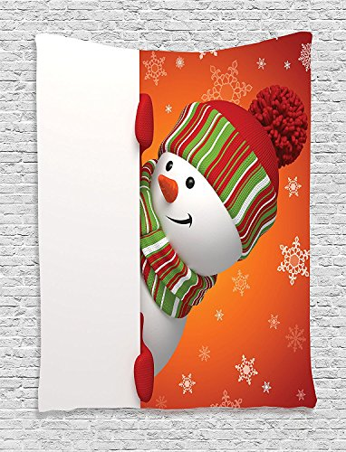 Christmas Cute Snowman with Mittens and Hat and