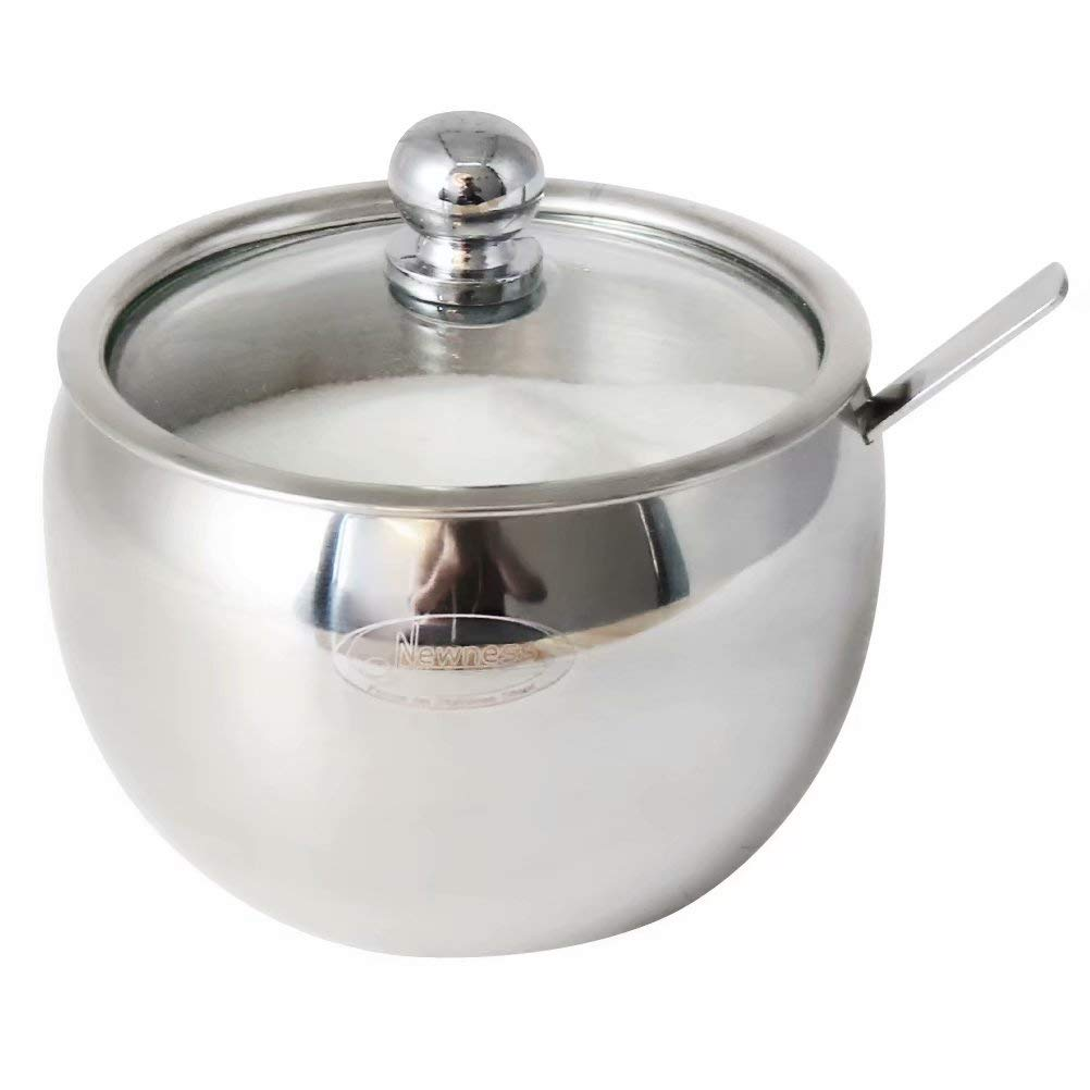 Newness Sugar Bowl, Stainless Steel Drum Shape Sugar Pot with Clear Lid and Spoon, 225 Milliliter(7.6 FL OZ) for Home & Kitchen by Newness Focus On Stainless Steel