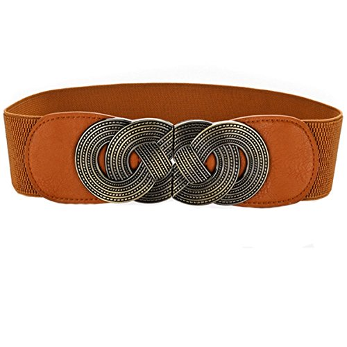 Cityelf Women's Elastic Band Waist Belt With Special Buckle PDW0065 brown (Horsebit Buckle Belt)