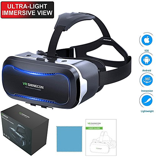 VR SHINECON vr Headset with Prepositive Radiator,3d Goggles Glasses Virtual Reality Headset for VR Games&3D Movies,Eye Protected for iPhone X 8 7 6/6s plus,Samsung note 8 7 s6 s7 s8/Plus Smartphones