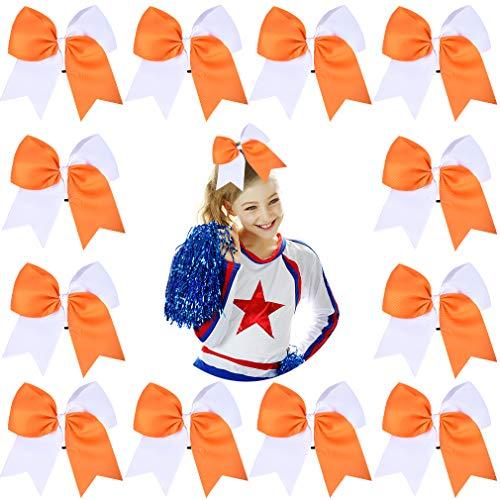 "DEEKA 12PCS 8"" Two Toned Large Cheer Hair Bows Ponytail Holder Handmade for Teen Girls Softball Cheerleader Sports-Orange/White"