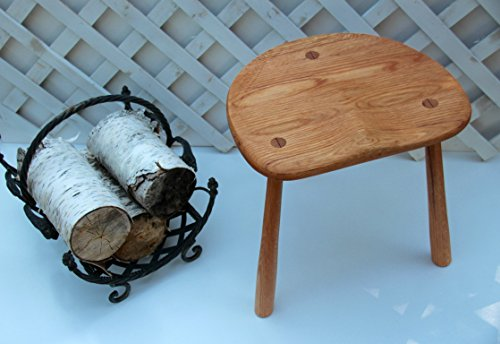 Wood Stool, Windsor Milking Stool, hand Carved out of reclaimed Ash Wood from New Hampshire