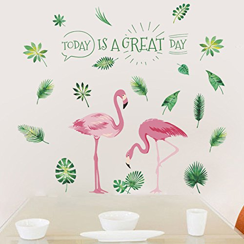 AWAKINK Pink Flamingos Green Plants Leaves Pastoral Style Wall Stickers Wall Decal Vinyl Removable Art Wall Decals for Bedroom Living Room Nursery Room Childrens Bedroom AK0201133