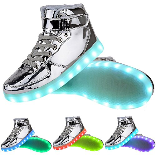 TUTUYU Kids 11 Colors LED Shoes High Top Fashion Sneakers For Halloween Silver 36