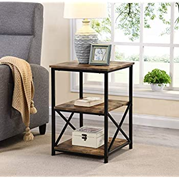 Amazon Com Homfa Industrial End Table 20 Inch Square