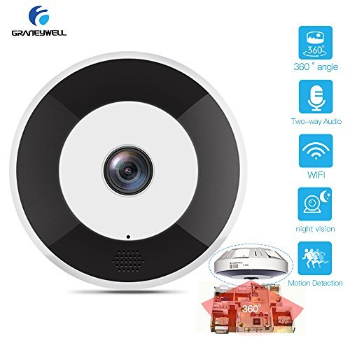 Wireless IP Camera Panoramic VR Fisheye Wifi Camera,2.4Ghz &1080P HD 2.0 Megapixel,Night-Vision,Motion Detection Indoor Home Security Camera,Mini Security Camera With SD Card Slot For Sale