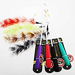 Aduck Retractable Cat Toys Interactive Feather Teaser Wand Toy with Bells Beads and Dog's Nail Feathers Birds Worms Catcher for Cats Kitten, Random Color (1pc)