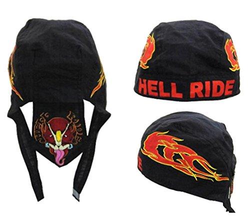 buy 1 get 1 FREE DEVIL HELL RIDE FLAMES Bandana Wrap Around Do Rag Hat - Men or Women Cap