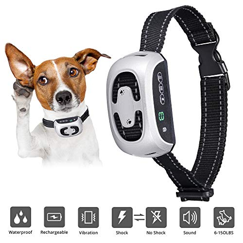 Skywoo Newest 2019 Dog Bark Collar Rechargeable, 9 Adjustable Sensitivity 3 Stop Anti Barking Modes Anti bark Training Collar Waterproof No Barking Dog Collar for Small Medium Large Dogs