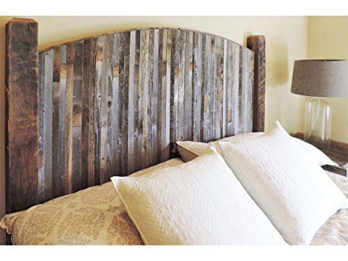 Farmhouse Style Arched King Bed Barn Wood Headboard w/ Narrow Rustic Reclaimed Wood Slats (Barn Wood Headboard compare prices)