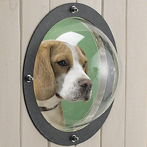 "Fence Window- Clear Durable Acrylic Dome Window, Easy To Install 9.5"" Diameter Dome for Dogs, a Joyfay (Through Fence)"