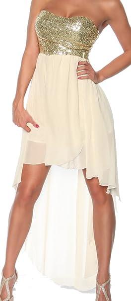 ea49aef10ef jowiha® Umwerfendes Abendkleid Bandeau Kleid mit Pailletten Creme Weiß oder  Schwarz für viele Gelegenheiten Größe