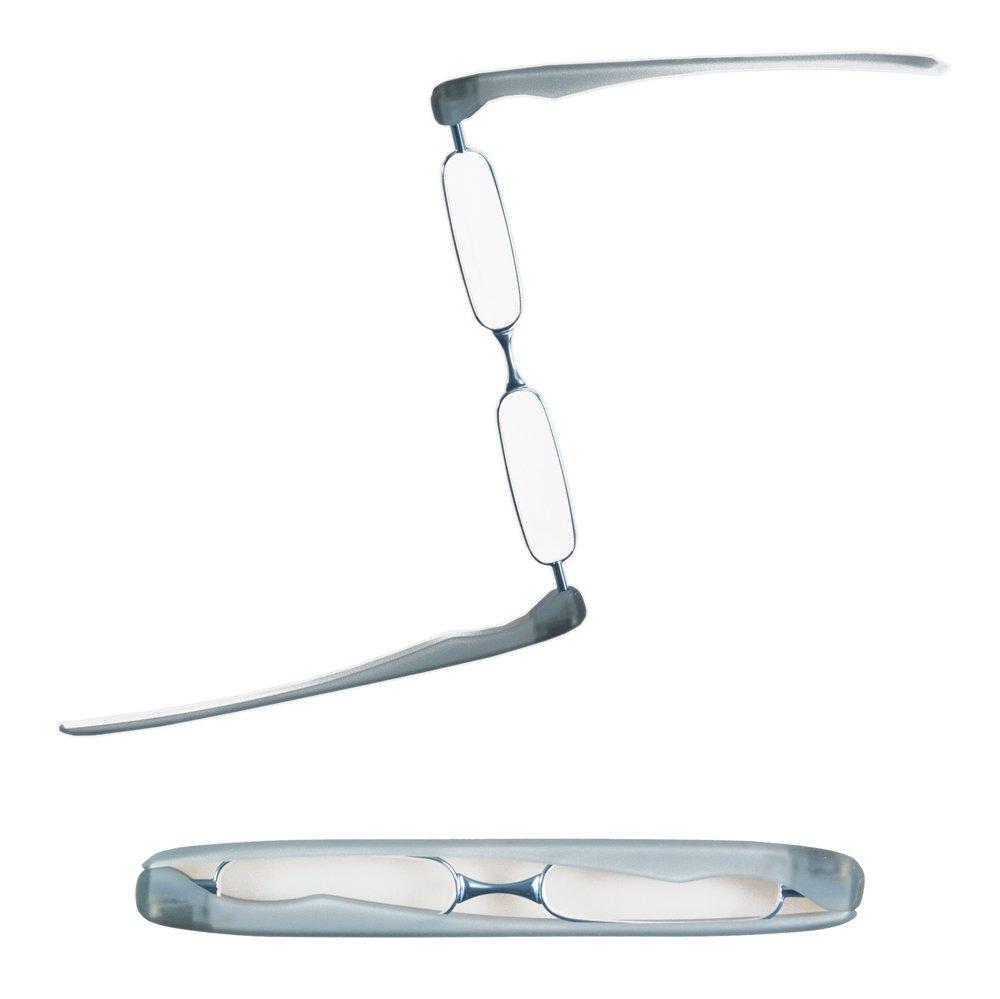 Demel Augenoptik Podreader Lesebrille – Kompakt und Innovativ in 6 Farben – Bügel verwandeln sich in ein Brillenetui – Lesehilfe inkl. Mikrofasertuch – Stärken +1,0; +1,5; +2,0; +2,5; +3,0 0 (Blau +1.0)