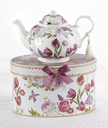 "9.5 x 5.6"" Porcelain Tea Pot in Gift Box, Tulip"
