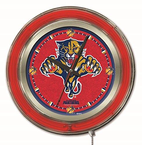 Florida Panthers Clock - Holland Bar Stool Co. Florida Panthers HBS Neon Red Hockey Battery Powered Wall Clock (15