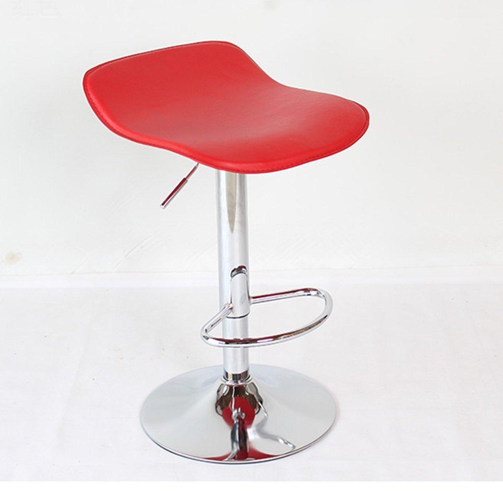 ファッションレッドまたはブラックスイベルチェアバーチェアクロムフレームリフト高品質の革とフットレストで調整可能なハイスツールバーチェアフロントデスクチェア (色 : 赤) B07D8TWF1M 赤 赤