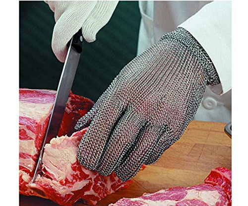 Luckystone Ambidextrous Cut Resistant Gloves - High Performance Level 5 Protection,Safety Cut Proof Stab Resistant Stainless Steel Metal Mesh Butcher Glove,Food Grade Cut Proof Gloves - Metal Mesh Glove