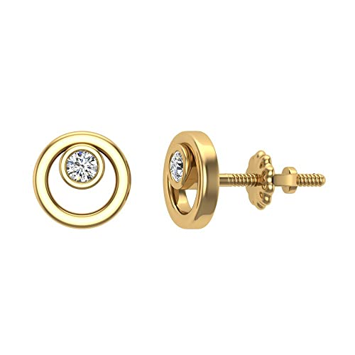 Diamond Earrings Circle Shape Studs Bezel Settings 10K Gold 0.10 ctw