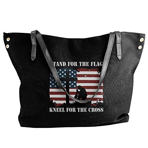 (SW98Q98 Stand for The Flag, Kneel for The Cross Women's Casual Shoulder Bag Canvas Handbag for Work Shoulder Tote)
