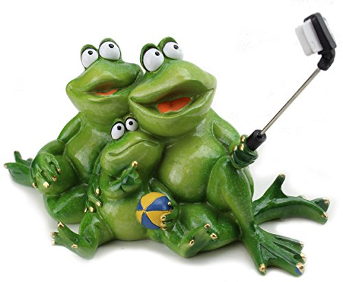 (Novelty Funny Frog Family Figurines ~ Frog Family Daddy, Mommy, and Kid Taking Selfies Tabletop Statue Home Decor ( G16617)~ We Pay Your Sales Tax)