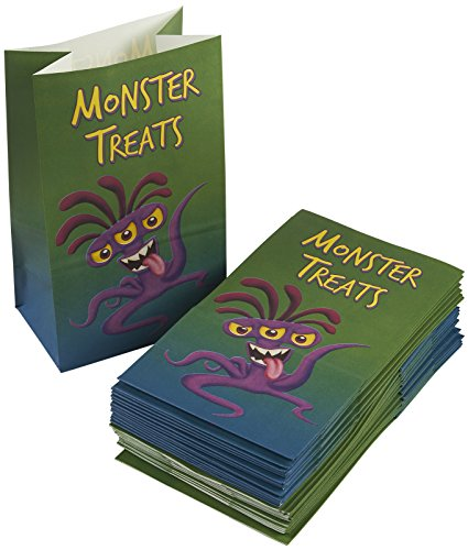 Party Treat Bags - 36-Pack Halloween Gift Bags, Monster Party Supplies, Paper Favor Bags for Birthday Party Goodies, Recyclable Treat Bags for Kids - 5.2 x 8.7 x 3.3 inches]()