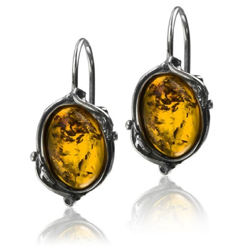Silver Amber Victorian Oval Hook Earrings Graciana Amber by Graciana 41247