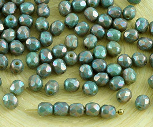 100pcs New Finish Nebula Opaque Beige Luster Christmas Style Czech Glass Round Faceted Fire Polished Beads Small Spacer 4mm (New Faceted 100 Czech Glass)